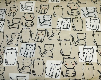 Cotton Jersey little Darling cats beige sand kitten children 0, 50 m