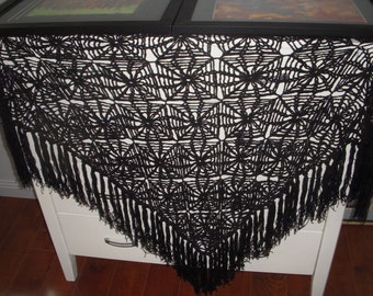 Pure Wool Crochet Shawl with Tassels Black