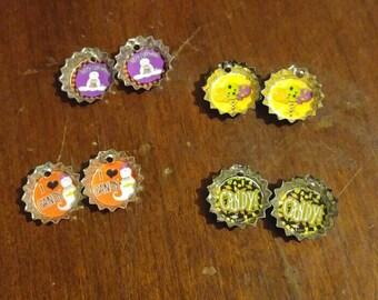 Mini Bottlecap Earrings Halloween