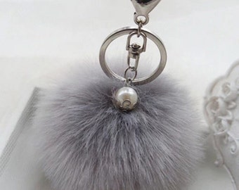 POM POM key chain/ bag charm in grey