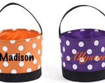 Personalized Halloween Bucket Trick or Treat Bags - 3 Different Styles Available.