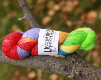 Rainbow Sparkle Flower *SPARKLE* - Hand Dyed Yarn - SW Merino Wool/Nylon/Stellina (70/25/5) Fingering/Sock Weight