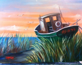 11 x 14 Original Oil Painting on Canvas Board.......DryDocked Boat