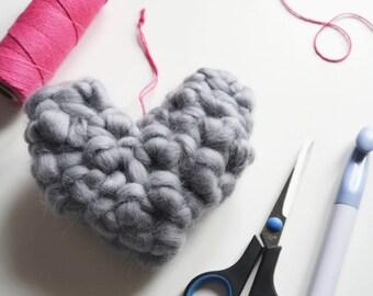 DIY Crochet Heart Kit, 9 colours giant yarn, Crochet your own merino wool hanging heart,