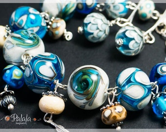 Handmade Lampwork Beads and Sterling Silver Set of Bracelet and Earrings