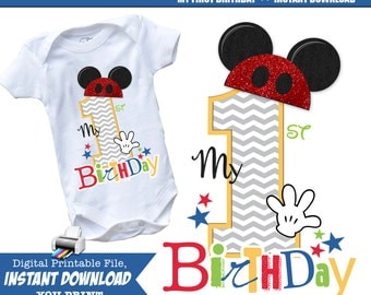 My First Birthday, Mickey Iron On Printable, Mouse Ears, Family Vacation, Matching Shirts, Chevron Pattern, Instant download, Wall Art