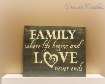 Family - Where life begins and Love never ends Wood Sign // Family Wood Sign // Love never ends // Wood Sign
