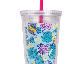 AXID  Alpha Xi Delta Sorority Lilly Pulitzer Tumbler With Straw.