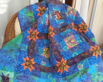 Twin Quilt Handmade Patchwork 100% Cotton In Blue, Green and Purple Batik Fabrics