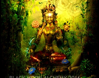 GREEN TARA Digital Collage Arte Print