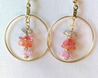 Gold and pink hoop earrings