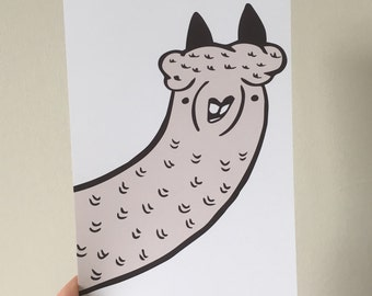 Alpaca Illustration Print 6x4""