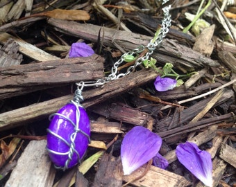 Whimsical Purple Stone Necklace