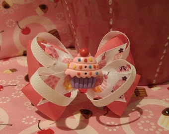 Cupcake Pink and White Bow