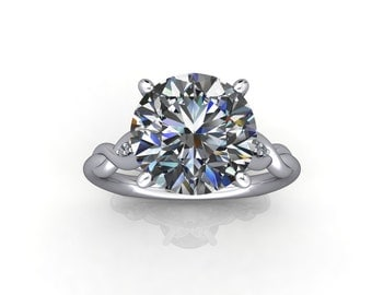 3.02 CT NEO Moissanite Engagement Ring with 6 Accent Dimonds in a Eurpoean Shank Item #JM006