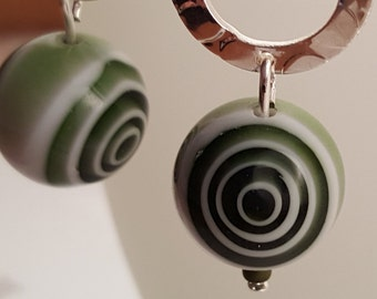 Green Concentric Circles Glass Bead Earrings