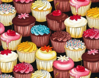 """Dessert Fabric: Miscellaneous Food - Cupcake Fabric Cupcakes Packed by Timeless Treasures 100% cotton fabric by the yard 36""""x43"""" (G356)"""