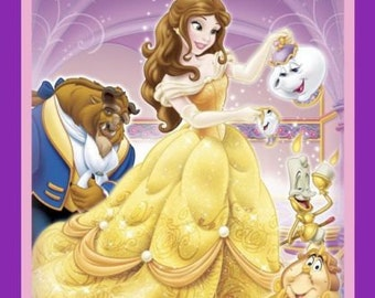 """Disney Princess Fabric Panel - Beauty and the Beast Quilt top 100% cotton Fabric by the panel 35""""x44"""" (SC254)"""
