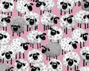 "Susybee Fabric, Sheep Fabric : Lewe, the ewe - Sheeps all over PINK Fabric 100% cotton fabric by the yard 36""x42"" (SB39)"