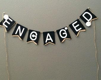 Engaged burlap sign