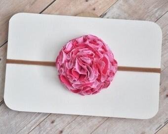 Pink Chevron Pom Headband