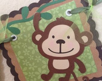 Monkey baby shower banner, Monkey banner, It's a boy, High Chair Banner, jungle animal banner, monkey boy banner, table banner.