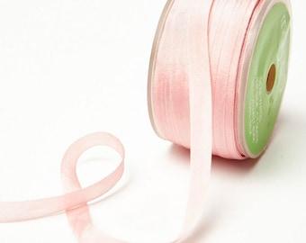 "Silk Ribbon in Lt Pink - 1/4"" Wide x 54 yd  ribbon wedding bouquets, vase arrangements, wedding favors, DIY centerpieces,"