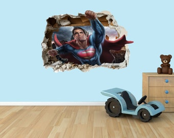 Superman 3D Effect Graphic Wall Vinyl Sticker Decal