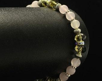 Rose Quartz Gemstone Bracelet, Crystal Healing Bracelet.