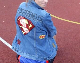 denim jacket SUPERMAN  jeans vintage hand- painted DEKLEKT patch sequines