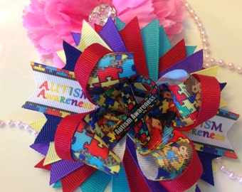 Hair bows, Autism Awareness Hair bows, Boutique Bows, Boutique Hair bows, layered hairbows, Ready to ship