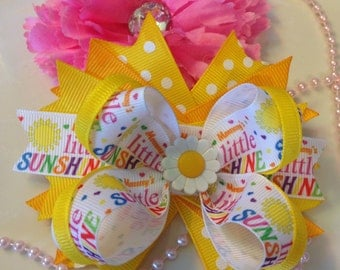 Hair bows,Mommy's little Sunshine,Boutique Bows,Boutique Hair bows,stacked hair bows,layered hair bows