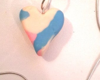 Handmade Adorable Rainbow Heart Necklace