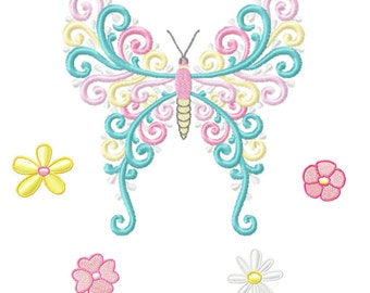 Embroidery Design - Spring Swirls Butterfly