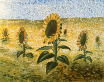 Sunflowers Original Oil Painting 24x24 on thick canvas 1.5