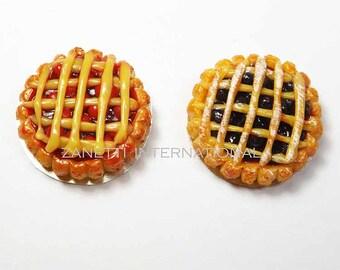 Set of 2 Dollhouse Miniature Fruit Pie on a Metal Plates - Mini Food