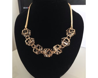 Gold Colour Crystal Geometric Design Chain Necklace.