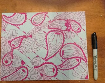 Grey and pink Zentangle inspired art