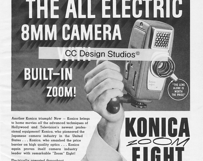 Vintage Konica Magazine Advertisement 1960 - Collectible Movie Photography Ad - 8 mm Zoom Camera - Made in Japan - Approx. 11 x 8 inches