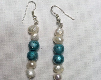 turquoise and white pearls Earrings