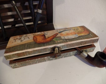 Shabby Chic pipe beautiful box. Vintage style. Handcrafted