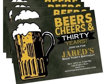 Dirty Thirty Birthday Invitation - Digital File - Birthday Invite for Him - Beer Thirty - Funny Birthday Invitation - 30th Birthday Party -