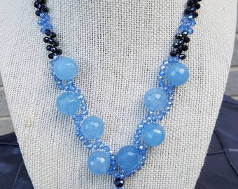 Blue Agate and Glass Beads Necklace