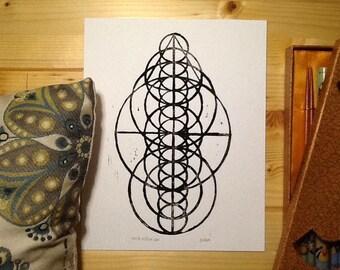 Seven Circles of Seven - Limited Edition Linoleum Print