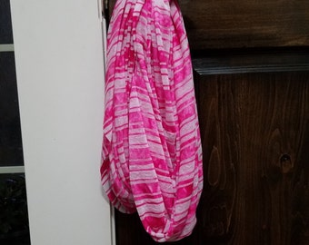 Inifinity scarf - pink and white striped