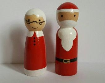 Father Christmas Santa Claus Mrs Claus wooden peg doll toy pegdoll