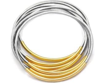 Bangles- Bangle, Gold bangles, Bracelets, Metal Bangles, Gray Leather Bracelets, Stacking Bangles, Tube Bracelets, Boho, Bohemian, Set of 6