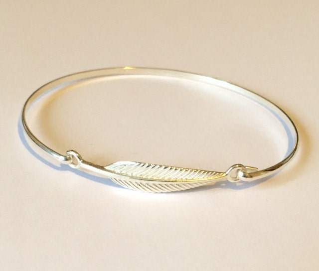925 solid Sterling Silver Wire Leaf Bangle, Solid Silver ...