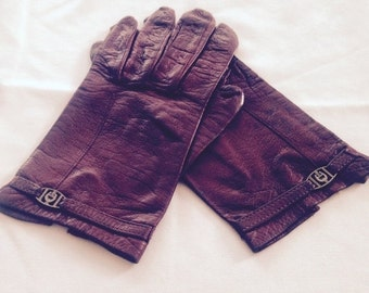 On Sale Vintage Etienne Aigner Burgundy Leather Gloves