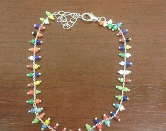 Multi Colored Beaded Silver Bracelet